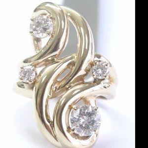 Fine Round Cut Diamond Yellow Gold Cocktail Jewelr